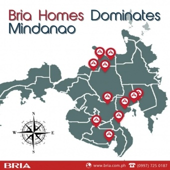 A map of Mindanao with the tag line Bria Homes Dominates Mindanao