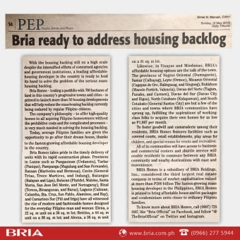 Bria Highlights Affordable City Living with Condo Development Want to Buy That Trendiest Phone? THINK AGAIN Buying a Home in the City - Can you Afford it? Bria Builds Five New Projects Nationwide Bria Answers to the Country's Call for Quality Yet Practical Homes Bria ready to address housing backlog