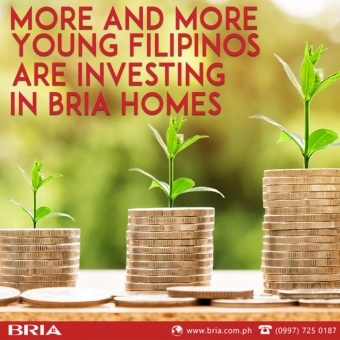 Image of coins with plants growing on them with the tag line More and more young Filipinos are investing in Bria Homes